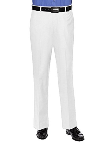 RGM Mens Slim fit Dress Pants Flat-Front - Modern Formal Business Wrinkle Free No Iron White 33 Medium