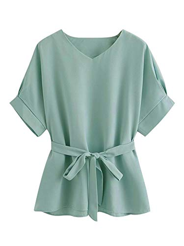 Milumia Women's Casual V Neckline Short Sleeve Self Tie Dressy Work Blouse Tunic Tops
