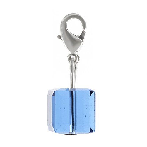 (2pcs Clip On Dangle Birthstone Charms 8mm Austrian Cube Crystal Pendants with Silver Lobster Clasp 12BC8-L9)