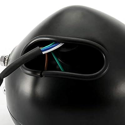 Aramox Motorcycle Headlight,Universal Motorcycle Retro Black Shell White Lens Headlamp Front Headlight for GN125: Automotive