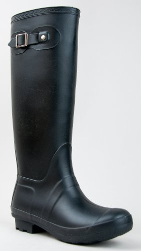 Bamboo PADINTON-01 Hunter Inspired Rubber Knee High Rain Boot, Black, 5 B(M) US