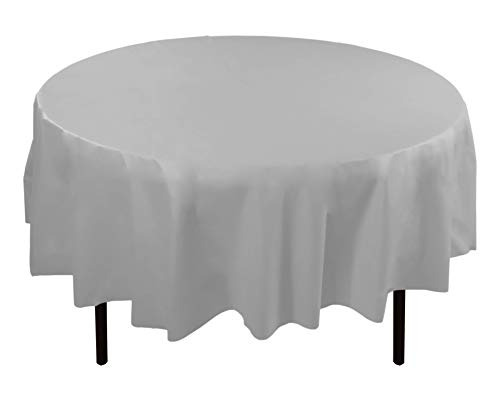 12-Pack Premium Plastic Tablecloth 84in. Round Table Cover - White (White Round Off Top)