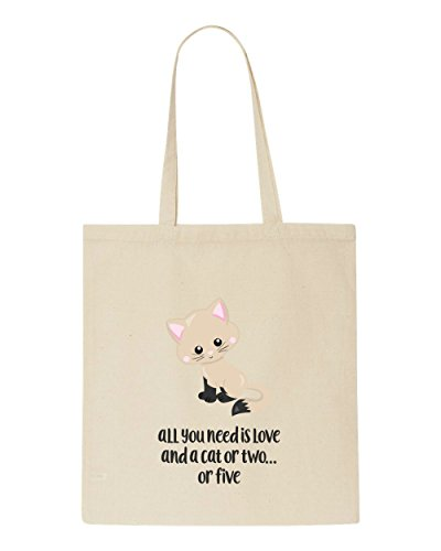 Love Two 7 Need Funny All You Is Or Cat Bag Five Shopper Statement Cute A And Tote Beige qfwSgxH