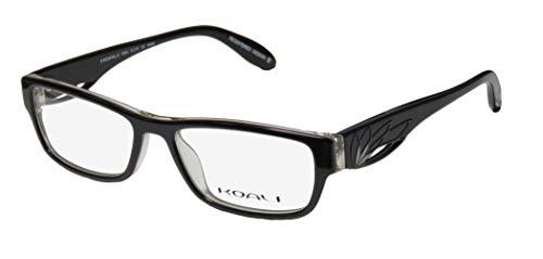 Koali 7200k Womens/Ladies Prescription Ready Popular Design Designer Full-rim Eyeglasses/Spectacles (51-16-135, Black / Clear) (New Fashion Brillen Frames)