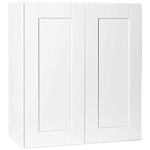 Shaker White Cabinet Solid Wood Construction Wall Cabinet Two Door for Kitchen Bath or Laundry (W3330 Wall Cabinets)