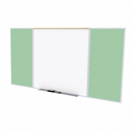 Ghent SPC48D-V-189 4 ft. x 8 ft. Style D Combination Unit - Porcelain Magnetic Whiteboard and Vinyl Fabric Tackboard - Mint by Ghent