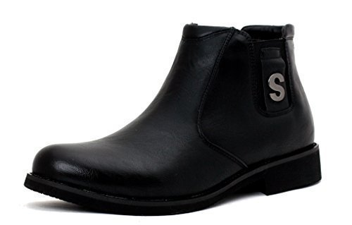 NEU Herren modisch knöchelhoch Chelsea Stiefel Freizeit Designer Schuhe Smart ohne Bügel UK Größe Schwarz