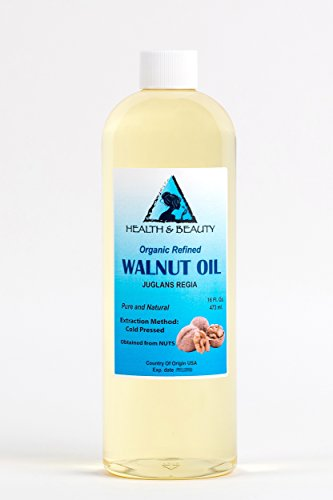Walnut Oil Organic by H&B OILS CENTER Cold Pressed Premium Quality Natural 100% Pure 16 oz