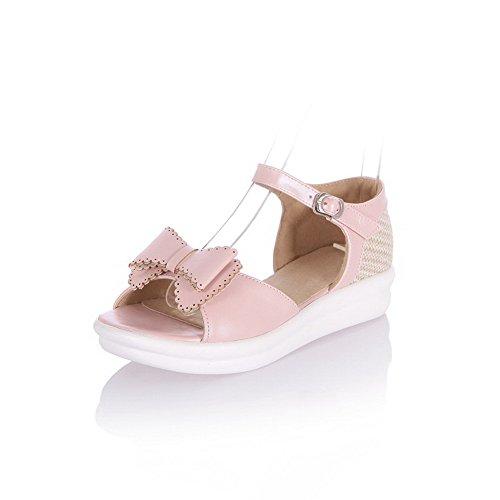 VogueZone009 Women's Low Heels Soft Material Assorted Color Buckle Open Toe Sandals Pink cuygIh0