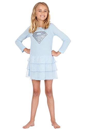 (DC Comics Girls 'Superman Supergirl Frozen Ice Princess' Costume Princess Pajama Gown, Blue,)