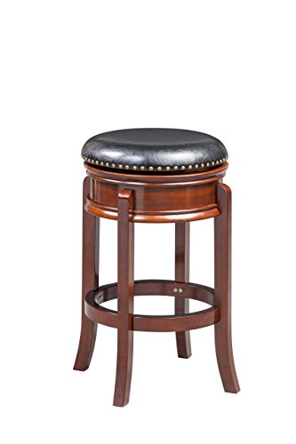 Boraam 43929 Hamilton Bar Height Swivel Stool, 29-Inch, Cherry - Brass Leather Table
