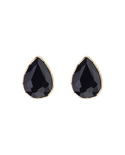 Cut Stone Pear (Women's Teardrop Stone Pear Cut Solid Border Evening Clip On Earrings, Black)