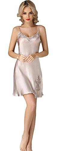 Women's Slit Nightdress Pure Silk Chemises Slip Sleepwear Pearl XS