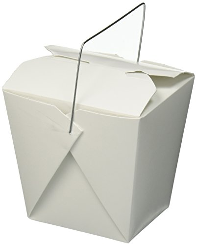 Chinese Take Out Food Boxes, White with Metal Wire Handle, Set of 40 Containers, 16 oz. (1 Pint)