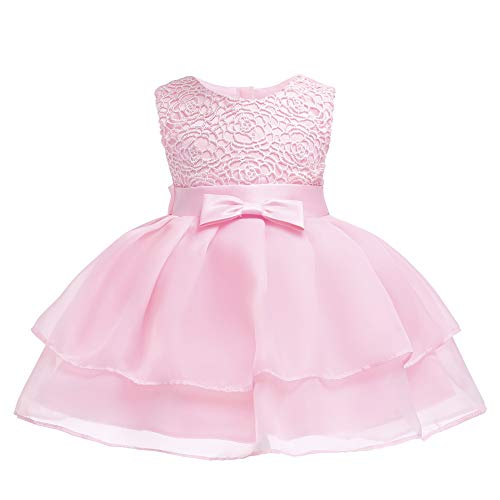 Layered Dresses for Juniors Girl Dress Baby Kids Newborn Christening Flower Lace Party Birthday Wedding Infant Ruffles Tulle Tutu Ball Gown Size 6-12 Months Bridal Special Occasion Tops (Pink M)