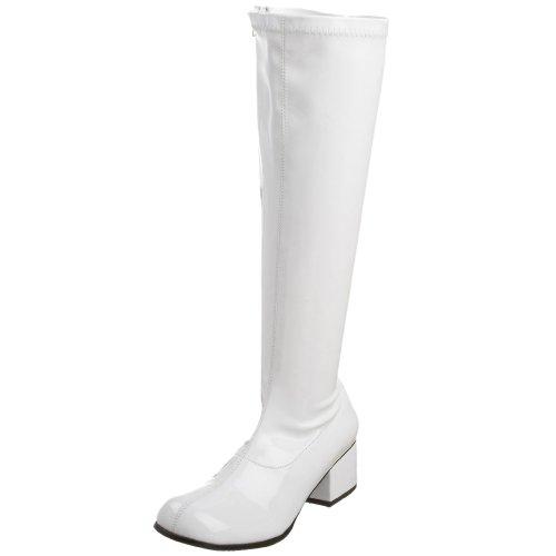 White Halloween Costume Boots (Funtasma by Pleaser Women's Retro-300 Boot,White Stretch Patent,9 M)