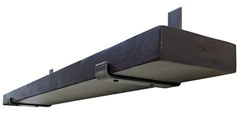 Made in USA by DIY CARTEL - Industrial Forged Steel Floating Shelf J Bracket with Lip - Heavy Duty Rustic Brackets- Raw Hot Rolled Steel/Metal - 2 Pack Wall Mount Brackets (6-inch x 6-inch)