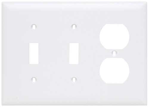 - Legrand - Pass & Seymour TP28WCC12 Combination Opening Nylon Wall Plate, Two Toggle, One Duplex, Three Gang, White