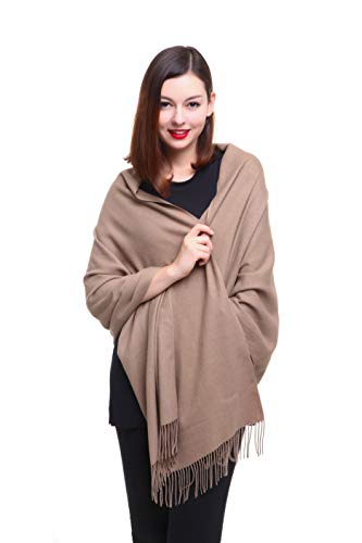 REEMONDE Womens Super Soft Long Shawl Solid Colors Warm Pashmina Big Scarf (Camel)