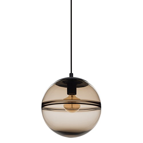 - CASAMOTION Unique Optic Contemporary Hand Blown Glass Pendant Light, Ceiling Hanging Lighting Fixtures, Brown