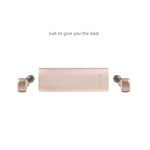 Bluetooth Headphones Gorogr D01 Mini Invisible Twins Bluetooth Headsets Noise Canceling Wireless Headphone Stereo in-Ear Earphone with Mic Portable Charger (Rose Gold)