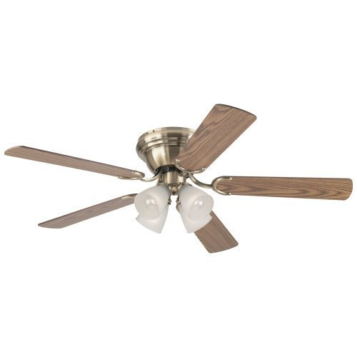 Westinghouse 7871400 Contempra IV Four-Light 52-Inch Five-Blade Indoor Ceiling Fan, Antique Brass with Frosted Ribbed-Glass Shades (Oak Antique Ceiling Fan)