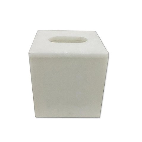 Bath Fashions Alabaster Marble Boutique Tissue Box Cover in Beige