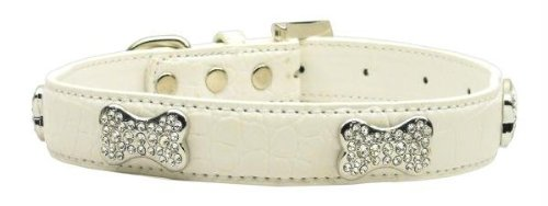 Mirage Pet Products Faux Croc Crystal Bone Collars, White, Small Crystal Bone Leather