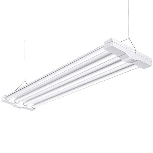 (AntLux 80W 4ft Low Bay LED Utility Shop Lights, 9000 Lumens, 5000K, LED Garage Lights 4 Foot Linear High Bay Workshop Ceiling Light Fixture, Fluorescent Tube Replacement, Plug in with)
