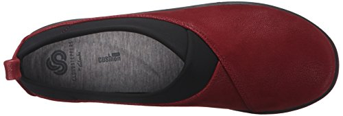 Clarks Sillian de la mujer Greer Slip-On Loafer Cherry Synthetic Nubuck