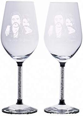 Copas de vino personalizadas Fotos Copas Cena Copas de vino elegantes Grabado de imágenes y texto Aniversario para mujeres(2 tazas (misma foto))