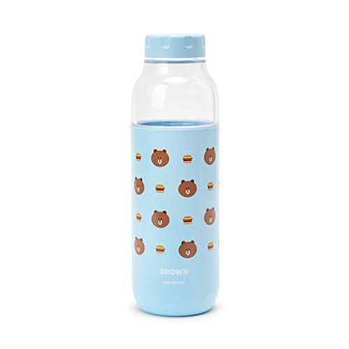 LINE FRIENDS Clear Water Bottle - Brown Character 16-Ounce BPA-Free Tritan Drinking Tumbler with Lid, Blue