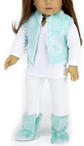 Sophia's Doll Clothing Teal Fur Vest 4pc. Set, fits American