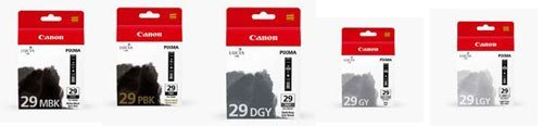 Inkjet Monochrome (Canon PGI-29 LUCIA Series Monochrome Ink Tanks - Five Monochrome Pack)