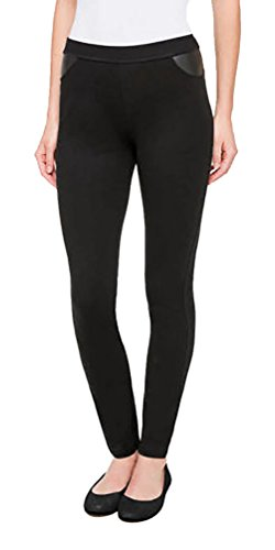 (DKNY Womens Pull On Ponte Pant (Black, Large))