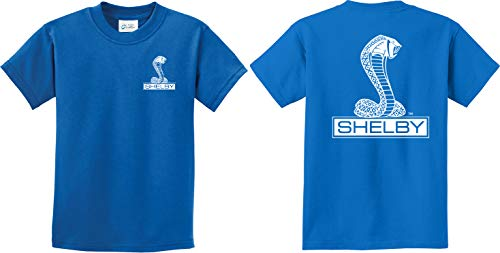 - Ford Shelby Cobra Front and Back Youth Kids Shirt, Royal Small