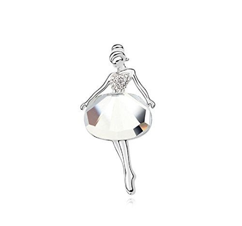 Crystals from Swarovski White Ballerina Pin Brooch 18 ct White Gold Plated for Women