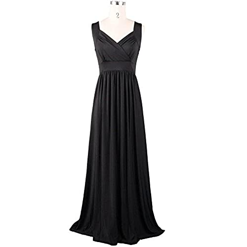 Medeshe Womens Black Long Formal Maxi Dress Gown Plus Size Prom Dress (18/20)