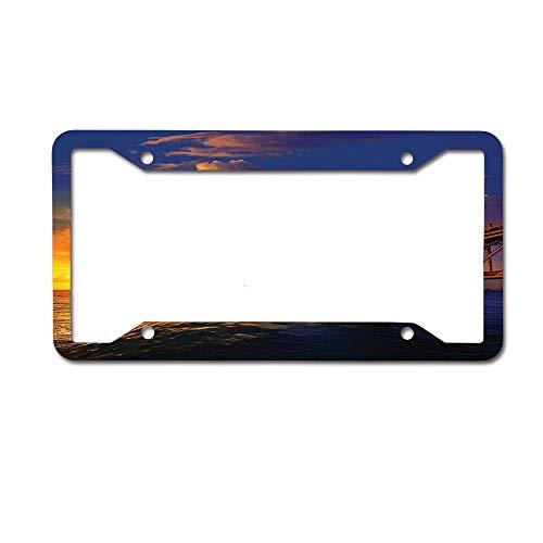 Dinzisalugg Custom Aluminum Metal License Plate Frame Tag Holder Cute,Florida Keys Old Bridge Sunset at Bahia Honda Park in USA Cloudscape Picture License Plate Frame 4 Holes and Screws