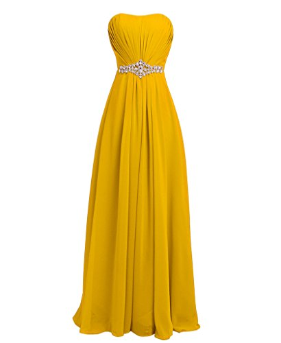 FAIRY COUPLE Strapless Bridesmaids Evening Dresses D004 (US12, yellow) (Yellow Dresses For Women Evening)