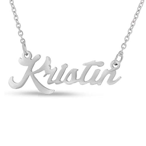 (LAOFU Silver Personalized Name Necklace Pendant Silver Plated Over Brass, Jewelry for Women (Kristin))