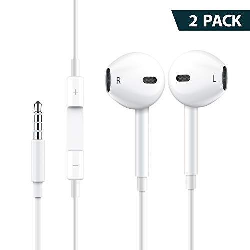 2 Pack Headphones Earphones Earbuds to 3.5mm with Microphone Stereo Mic&Remote Noise Isolating Control in-Ear Ear Buds for Most Smartphones – White