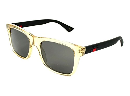 Gucci GG0008S 005 (Transparent Brown - Matt Black with Grey with Mirror effect - Gucci Sunglasses Mirrored