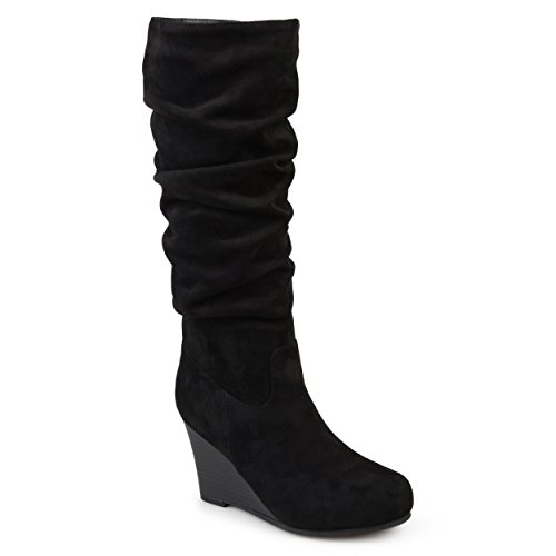 Journee Collection Womens Regular and Wide Calf Slouchy Mid-Calf Wedge Boots Black, 7 Regular US (Black Suede Calf Wedge Boots)