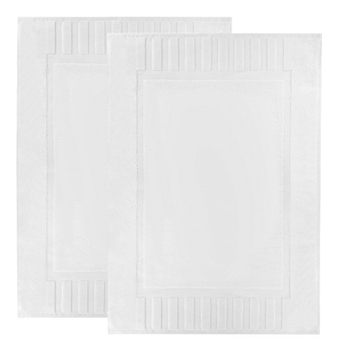 Cotton Reversible Towel - Luxury White Cotton Bath-Mats Hotel-Spa-Washable-tub-Set - 100% Cotton Reversible Hotel Quality Bath Mat Set - 2 Pack - 22