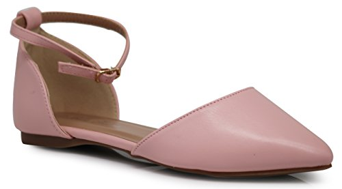 Ankle Strap Flat Shoes (Enzo Romeo Piana Flat Pointed Ankle Strap Women's Casual D'Orsay Pointed Plain Ballet Comfort Soft Slip On Flats Shoes New (11, Pink))