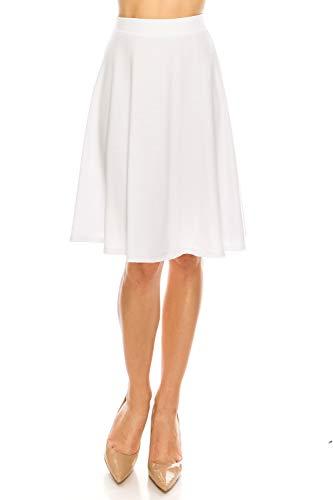 - MoDDeals Women's A-line Flared Cotton Midi Skirt (Small, White)