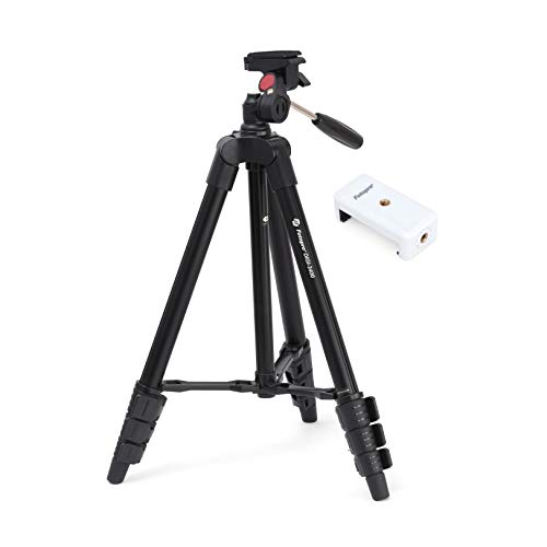 Fotopro DIGI 3400 4ft Universal Lightweight 3 Way Pan Head Tripod Stand with Mobile Holder and Carry Bag for All Smart Phones, GoPro, DSLR Cameras