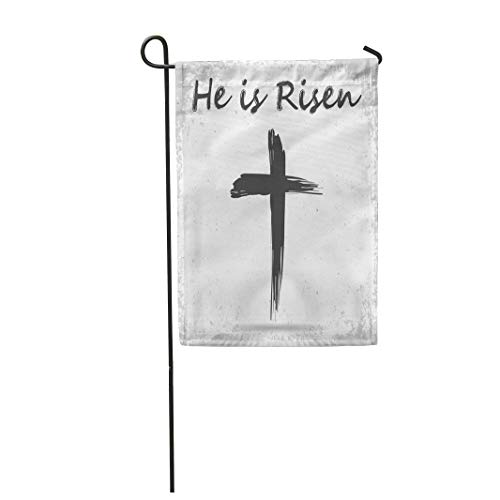 Semtomn Garden Flag 12x18 Inches Print On Two Side Polyester Watercolor Abstract He is Risen Easter Black Brush Catholic Celebration Home Yard Farm Fade Resistant Outdoor House Decor Flag