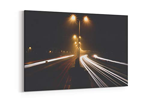 Road Light Trail Long Exposure and Lamppost in Lahore Pakistan - Canvas Wall Art Gallery Wrapped 40